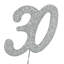 30 Glitter Number on a Pick - 30th Birthday Anniversary Cake Decoration Topper