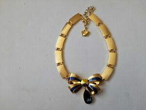 butler and wilson gold tone and blue enamel bow necklace NEW