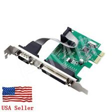 PCI-E Express Serial COM DB9 RS232 + DB25 Printer LPT Port Card US Stock