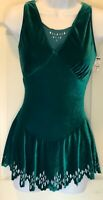 GK HALTER PEACOCK VELVET ICE SKATE ADULT SMALL Lg PETAL EYELETS DRESS AS NWT!