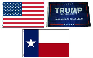 3x5 Trump #1 & USA American & State of Texas Wholesale Set Flag 3'x5'