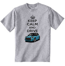 MINI COPPER BLUE INSPIRED KEEP CALM - COTTON GREY TSHIRT - ALL SIZES IN STOCK