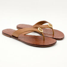 797784b235d43 Tory Burch Thora Tumbled Leather Royal Tan Sandal Flip Flop Size 7 NWB
