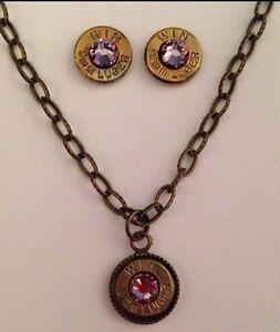 9mm Bullet Jewelry Necklace Earrings June Birthstone Light Amethyst choose brand