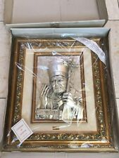 Pope Jean Paul Ii .925 Silver Layered 3D Figure Wall Decor Frame * Rare * Ag