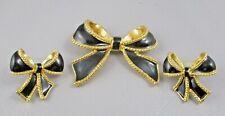 KJL Kenneth Lane for Avon Demi-Parure  Gold & Enamel BOW BROOCH & EARRINGS