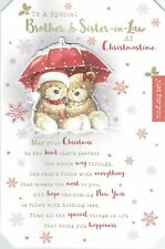 Special BROTHER AND SISTER-In-LAW Quality Christmas Card with Bears Lovely words