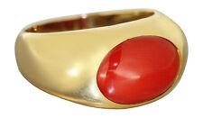 Klassischer Ring Gold 750 / 18 Karat mit Koralle Korallenring Damenring Goldring