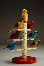 Rare Vintage 2005 Nova Scotia Folk Art Carved Bird Tree by Gerold Croft Canada