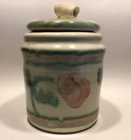 MA Bowman Pottery Crock Pink Flower Green Vine Cookie Jar Large Container Signed