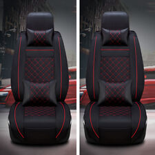 Luxury PU Leather 5-saets Car Front Seat Covers Cushions All Seasons Black&Red