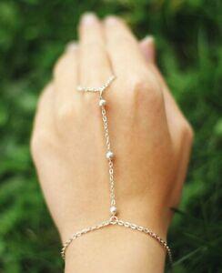 Indian Finger Gold Ring Hand Harness Chain Bracelet Charm Rhinestone Jewellery W