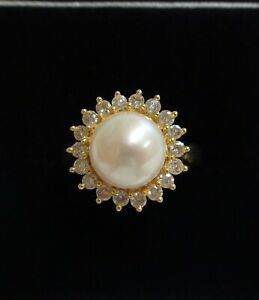 Vintage Cultured Pearl and Diamond Cluster Ring 750 (18ct) Yellow Gold - Size L