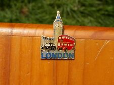 "London Bus Taxi Clock 2 1/8"" Gold Tone Metal & Enamel Fridge Refrigerator Magnet"
