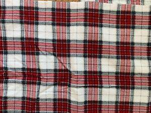 Red Black White Plaid Thick Flannel Standard Pillowcase Pair Cotton Excellent
