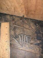 Old Salvage Reclaimed Primitive Antique  Iron Nails 12 Pieces. Unique Shape