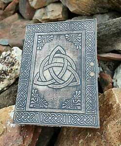 TRIQUETRA knot leather journal Trinity celtic knot Leather Diary Book of Shadows