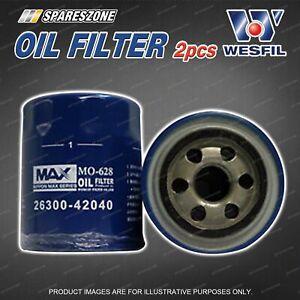 2 x Wesfil Oil Filters for Hyundai Terracan HP 2.9L CRDi 4Cyl DOHC Turbo Diesel