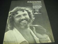 Kris Kristofferson It's Been Too Long.Who's To Blame. 1975 Promo Poster Ad