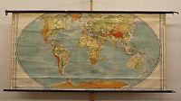 Schulwandkarte schöne alte physiche Weltkarte 213x106cm vintage world map ~1950