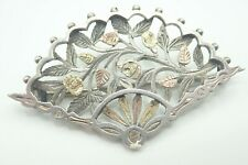 Vintage Sterling silver Fan Carved with Roses Gold decoration