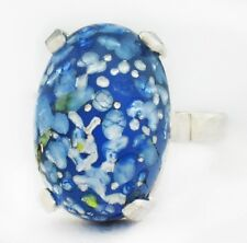 BLUE GLASS MULTI COLOR FOIL RING .925 STERLING SILVER  * New with Tag*
