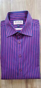 $125 THOMAS PINK SLIM FIT PRESTIGE STRIPE DRESS SHIRT IN RED & BLUE 17 X 35