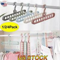 Rotating Clothes Nine-hole Hanger Multi-function Folding Wardrobe Storage Rack