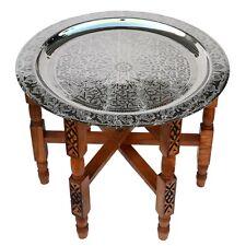 Marokkanischer Tisch aus Versilbertem Messing orientalischer Teetisch D60