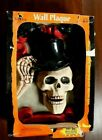 Vintage 90s Trick or Treat Wall Plaque Halloween Decoration Skeleton Motion