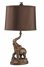 "New 27""H Bronze Elephant Table Lamp, Bronze Finish With Shade"
