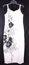 Iolani Size S Hawaiian Floral Print Maxi Dress Off White Black Made in Hawaii