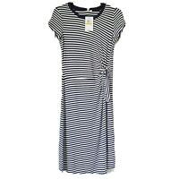 Cable & Gauge Midi Dress Nautical Stripe Side Tie Navy White Size Small
