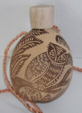 "Owl Etched Gourd Flask With Carved Stopper On Lanyard 5"" Tall"