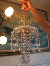 Beaded Amethyst cut crystal SWAG waterfall vintage Lamp Chandelier brass glass