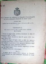 ✅1898/452 Regio Decreto costituisce in PANCALDI Costantinopoli co. elementare