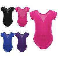 Girls Ballet Gymnastics Leotard Jumpsuit Mesh Lace Splice Dance Bodysuit Unitard
