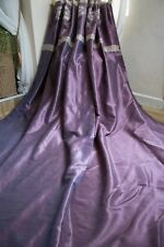PURPLE,GOLD PAIR CURTAINS,46X91D,EMBROIDERED,EYELET,LONG,LINED,SILK,SHIMMER,1OF2