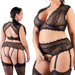 """Sexy Damen BH-Set L XL 2XL 3XL 4XL Spitze Strapse Dessous Reizwäsche """"Felisha"""""""