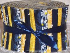 """Quilting Fabric Jelly Roll Strips 20~2.5"""" Navy Blue Yellow White Floral Cotton"""