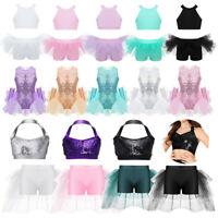 Girls Jazz Dance Costume Crop Top+Skirted Shorts Modern Leotard Ballet Dancewear