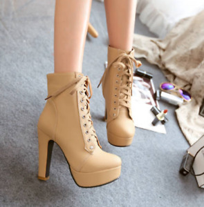 New Women's Suede Platform Ankle Boots Lace Up Strap Block Heels Fashion Boots