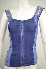 Free People Womens Blue Crochet Knit and Eyelet Panel Tank Top Blouse M Medium