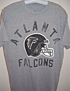 ATLANTA FALCONS IN DISTRESSED PRINT GRAY TEE-SHIRT WITH HELMET (ADULT LARGE)