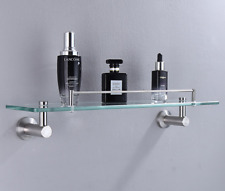 Bathroom Glass+304Stainless Steel Storage Rack Shower Shelf Cosmetics Basket New