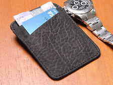 MENS BLACK SLIM LUXURY REAL LEATHER BUSINESS ID/CREDIT CARD HOLDER MONEY CLIP