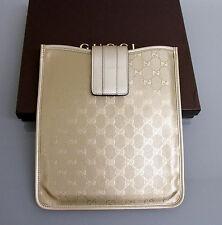 New Authentic GUCCI GG Monogram iPad Case Gold Imprime w/Box 256575 9504
