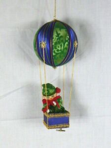 Vtg Beaded Satin Hot Air Balloon Music Box Ornament W/ Elf Plays Jingle Bells