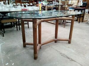 Oval Glass top dining table garden table