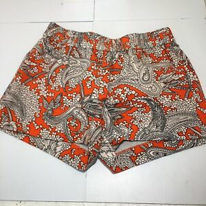 Women's J Crew Orange Paisley Shorts Sz 2